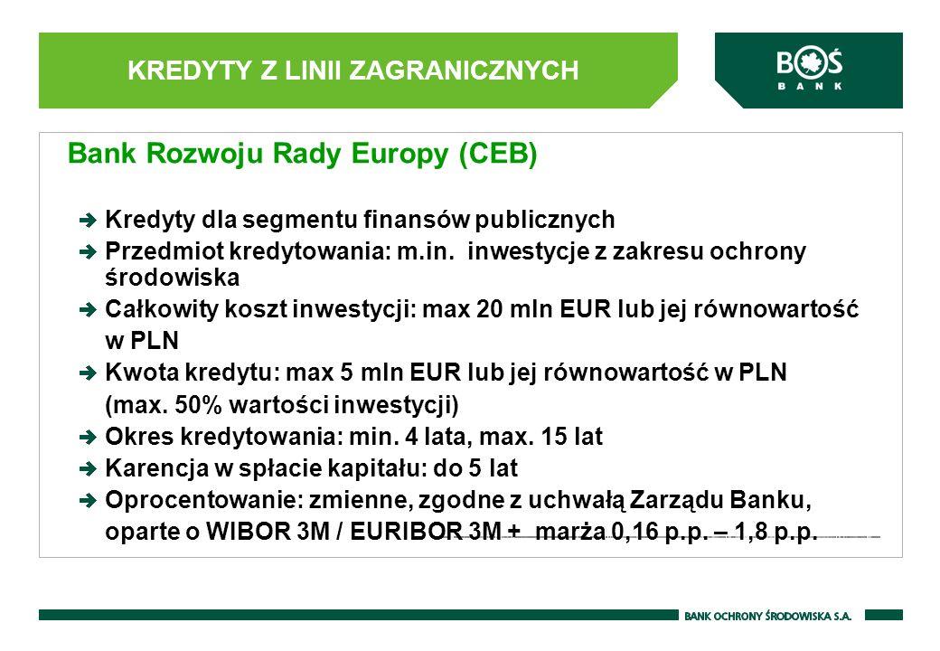 KREDYTY Z LINII ZAGRANICZNYCH Bank Rozwoju Rady Europy (CEB) Kredyty dla segmentu finansów publicznych Przedmiot kredytowania: m.in. inwestycje z zakr