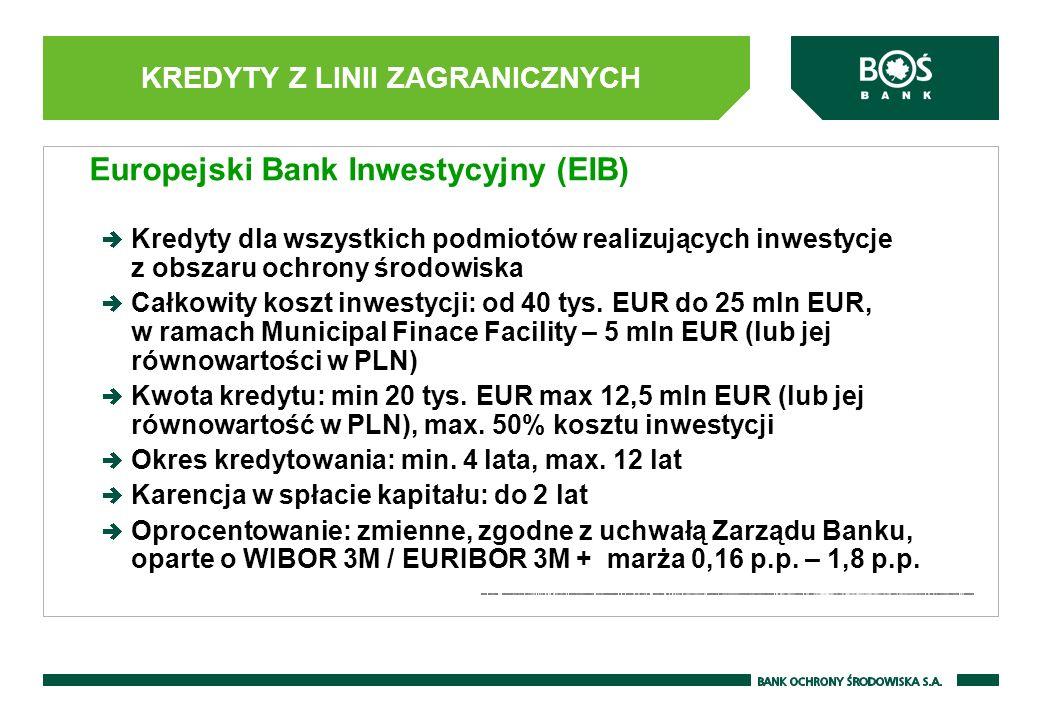 KREDYTY Z LINII ZAGRANICZNYCH Europejski Bank Inwestycyjny (EIB) Kredyty dla wszystkich podmiotów realizujących inwestycje z obszaru ochrony środowiska Całkowity koszt inwestycji: od 40 tys.