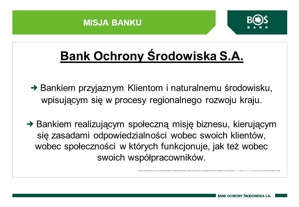 MISJA BANKU Bank Ochrony Środowiska S.A. Bankiem przyjaznym Klientom i naturalnemu środowisku, wpisującym się w procesy regionalnego rozwoju kraju. Ba