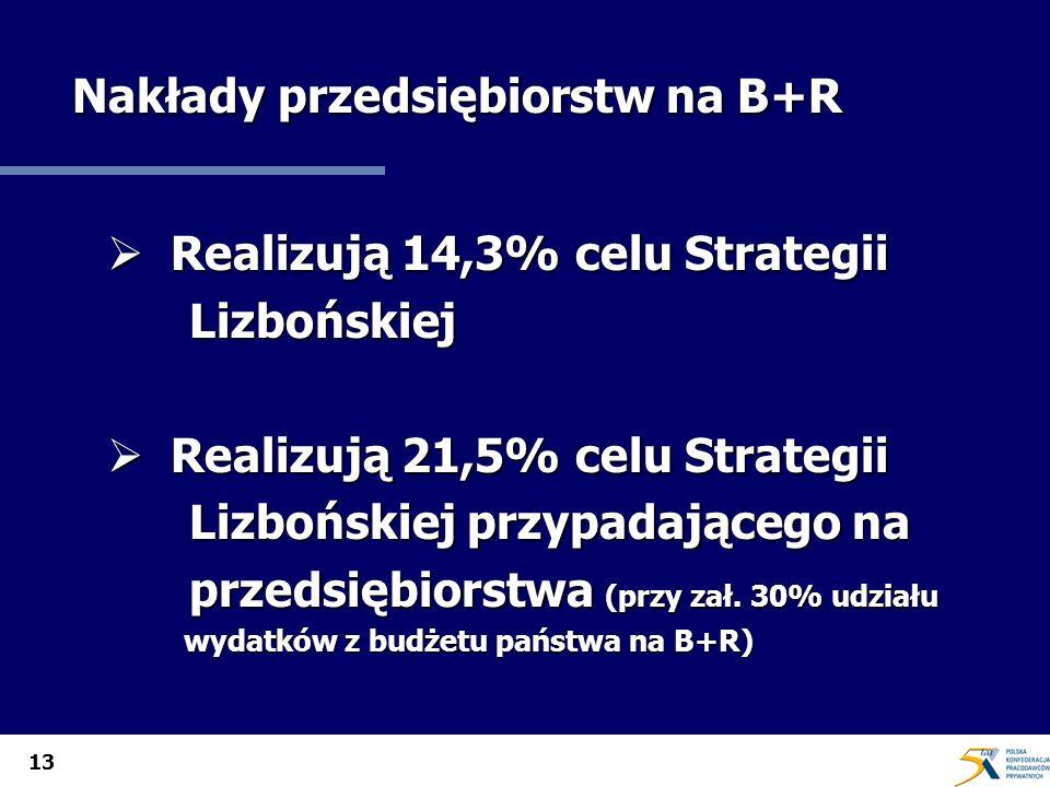 13 Nakłady przedsiębiorstw na B+R Realizują 14,3% celu Strategii Realizują 14,3% celu Strategii Lizbońskiej Lizbońskiej Realizują 21,5% celu Strategii Realizują 21,5% celu Strategii Lizbońskiej przypadającego na Lizbońskiej przypadającego na przedsiębiorstwa (przy zał.