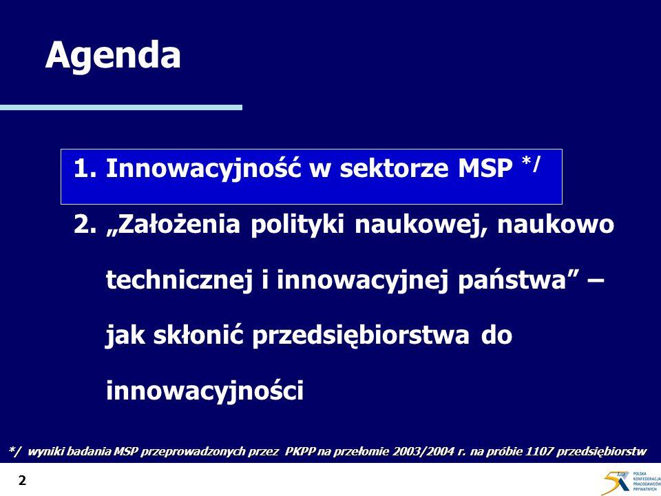 2 Agenda 1. 1.Innowacyjność w sektorze MSP */ 2.