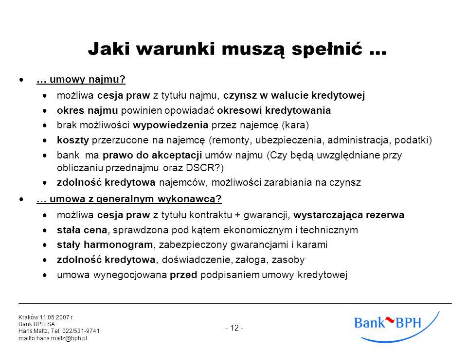 - 12 - Kraków 11.05.2007 r. Bank BPH SA Hans Maltz, Tel. 022/531-9741 mailto:hans.maltz@bph.pl Jaki warunki muszą spełnić … … umowy najmu? możliwa ces