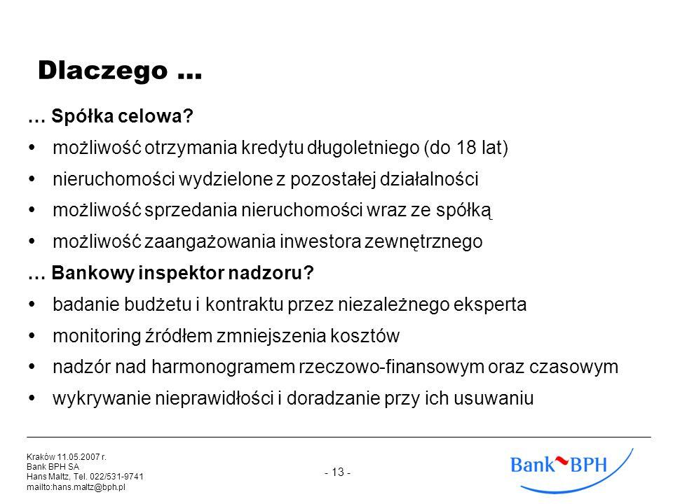 - 13 - Kraków 11.05.2007 r. Bank BPH SA Hans Maltz, Tel. 022/531-9741 mailto:hans.maltz@bph.pl Dlaczego … … Spółka celowa? możliwość otrzymania kredyt