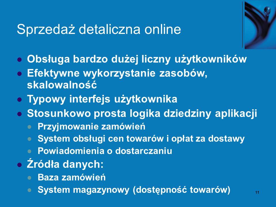 11 Sprzedaż detaliczna online Obsługa bardzo dużej liczny użytkowników Efektywne wykorzystanie zasobów, skalowalność Typowy interfejs użytkownika Stosunkowo prosta logika dziedziny aplikacji Przyjmowanie zamówień System obsługi cen towarów i opłat za dostawy Powiadomienia o dostarczaniu Źródła danych: Baza zamówień System magazynowy (dostępność towarów)