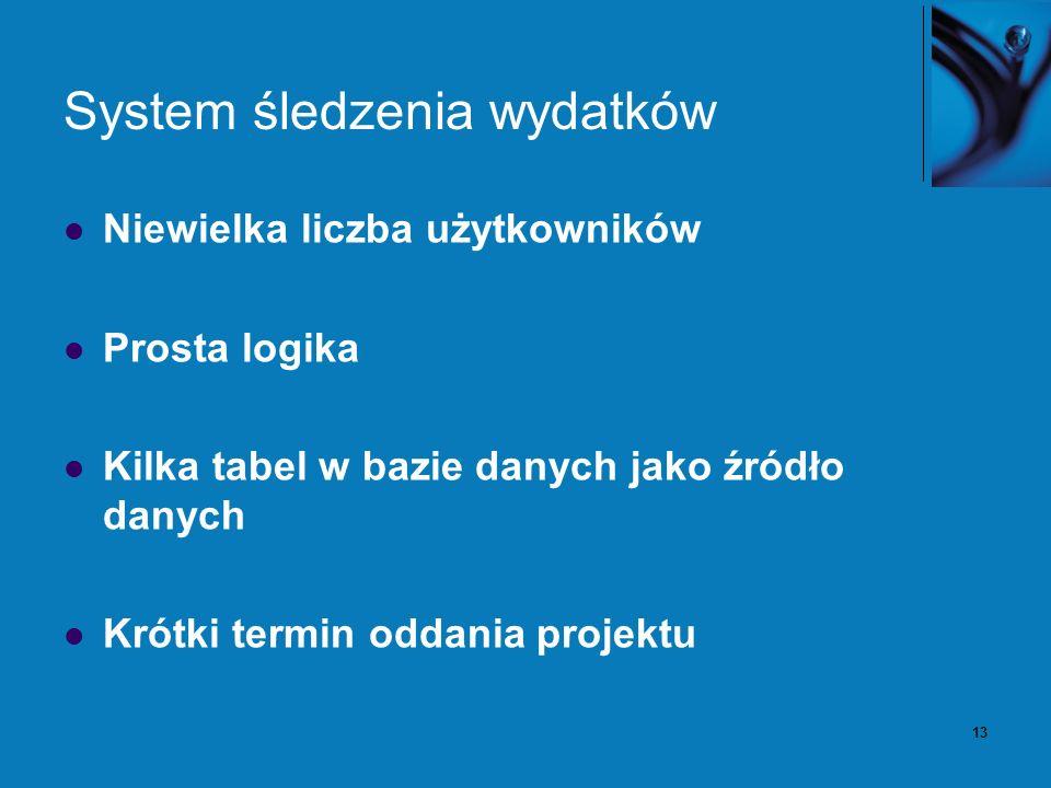 13 System śledzenia wydatków Niewielka liczba użytkowników Prosta logika Kilka tabel w bazie danych jako źródło danych Krótki termin oddania projektu