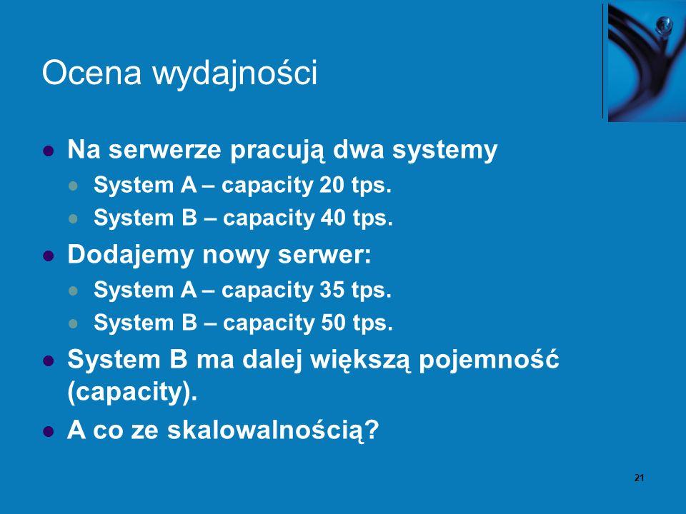 21 Ocena wydajności Na serwerze pracują dwa systemy System A – capacity 20 tps. System B – capacity 40 tps. Dodajemy nowy serwer: System A – capacity
