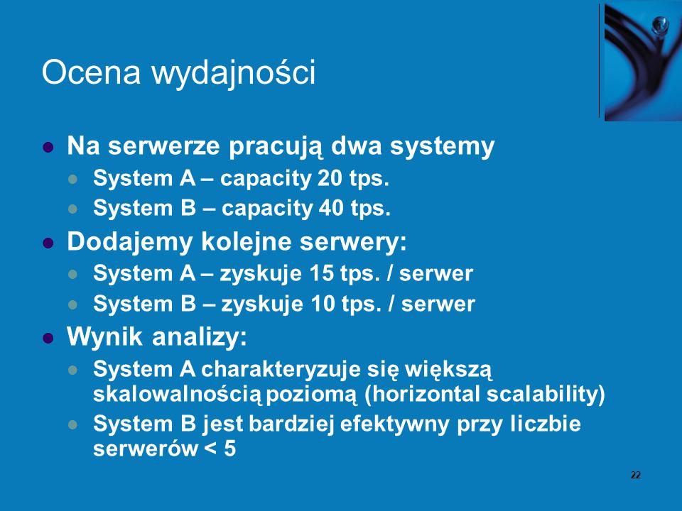 22 Ocena wydajności Na serwerze pracują dwa systemy System A – capacity 20 tps. System B – capacity 40 tps. Dodajemy kolejne serwery: System A – zysku