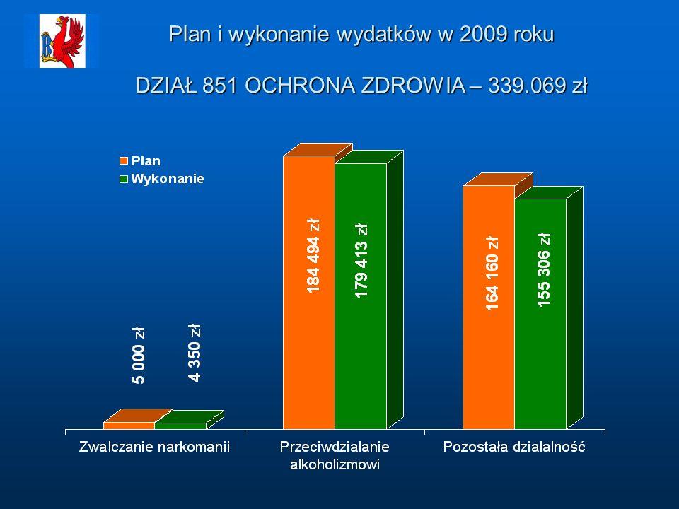 Plan i wykonanie wydatków w 2009 roku DZIAŁ 851 OCHRONA ZDROWIA – 339.069 zł