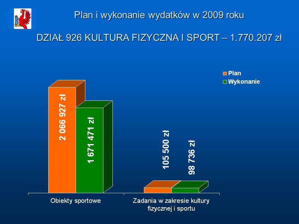 Plan i wykonanie wydatków w 2009 roku DZIAŁ 926 KULTURA FIZYCZNA I SPORT – 1.770.207 zł