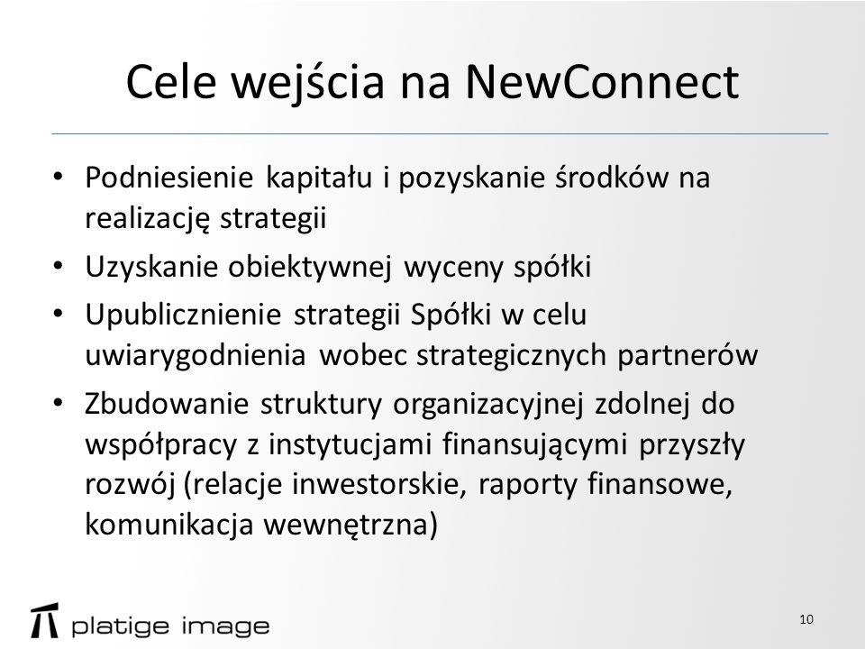 Cele wejścia na NewConnect Podniesienie kapitału i pozyskanie środków na realizację strategii Uzyskanie obiektywnej wyceny spółki Upublicznienie strategii Spółki w celu uwiarygodnienia wobec strategicznych partnerów Zbudowanie struktury organizacyjnej zdolnej do współpracy z instytucjami finansującymi przyszły rozwój (relacje inwestorskie, raporty finansowe, komunikacja wewnętrzna) 10