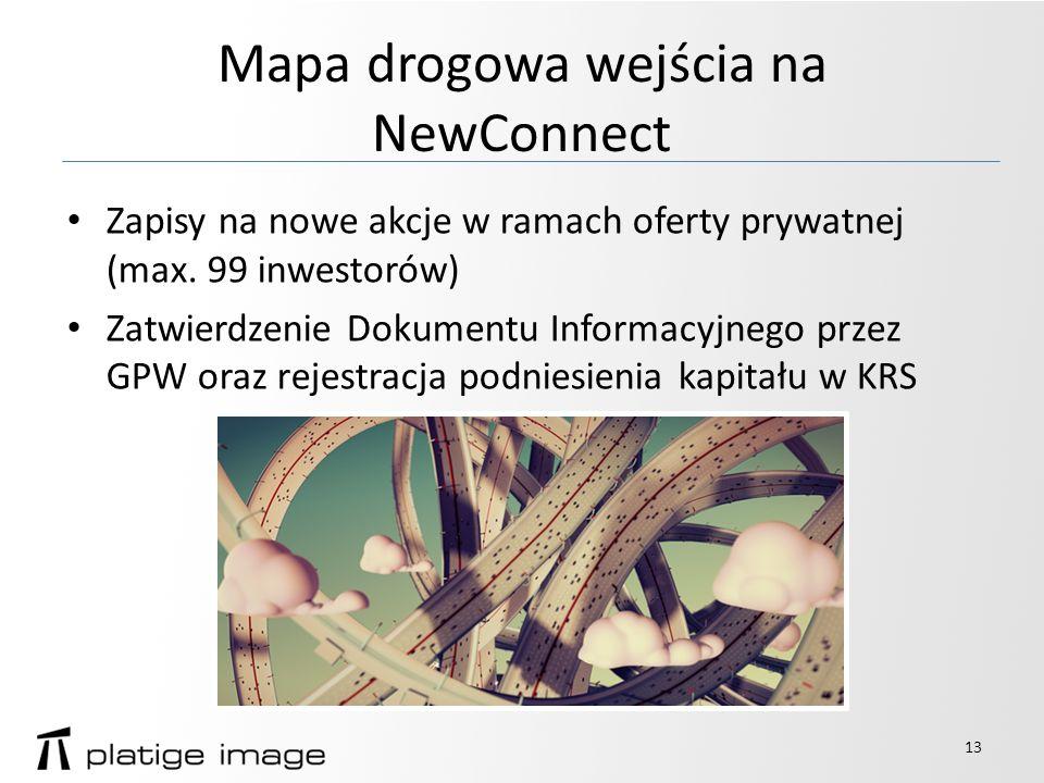 Mapa drogowa wejścia na NewConnect Zapisy na nowe akcje w ramach oferty prywatnej (max.