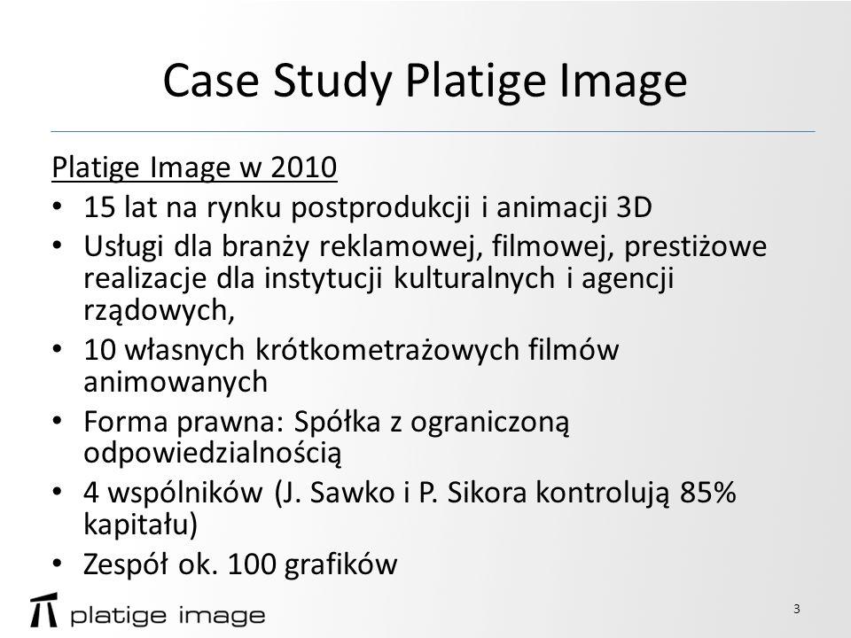 Case Study Platige Image Platige Image w 2010 Dane finansowe: Obroty spółki 29,4 mln zł Zysk EBITDA 6,4 mln zł Zysk netto 2,4 mln zł Suma bilansowa 17,1 mln zł Brak kredytów, kilka leasingów sprzęt u 4