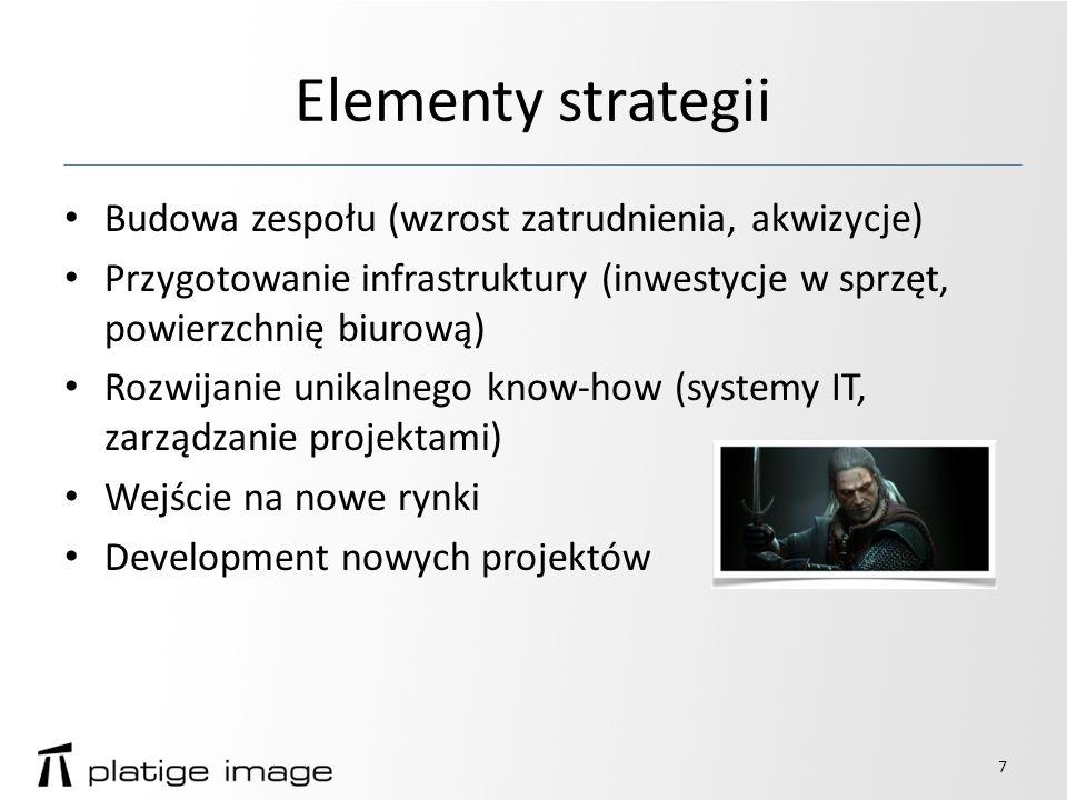 Elementy strategii Budowa zespołu (wzrost zatrudnienia, akwizycje) Przygotowanie infrastruktury (inwestycje w sprzęt, powierzchnię biurową) Rozwijanie unikalnego know-how (systemy IT, zarządzanie projektami) Wejście na nowe rynki Development nowych projektów 7
