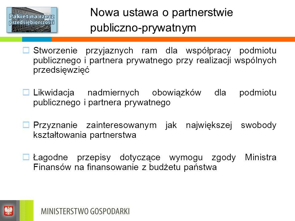 Nowa ustawa o partnerstwie publiczno-prywatnym Stworzenie przyjaznych ram dla współpracy podmiotu publicznego i partnera prywatnego przy realizacji ws