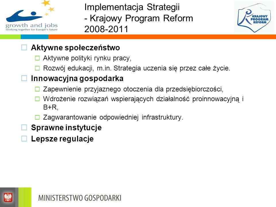 Implementacja Strategii - Krajowy Program Reform 2008-2011 Aktywne społeczeństwo Aktywne polityki rynku pracy, Rozwój edukacji, m.in. Strategia uczeni