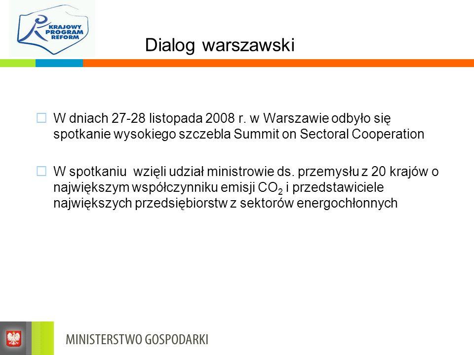 Dialog warszawski W dniach 27-28 listopada 2008 r. w Warszawie odbyło się spotkanie wysokiego szczebla Summit on Sectoral Cooperation W spotkaniu wzię