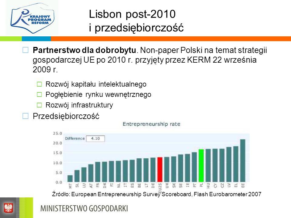 Lisbon post-2010 i przedsiębiorczość Partnerstwo dla dobrobytu. Non-paper Polski na temat strategii gospodarczej UE po 2010 r. przyjęty przez KERM 22