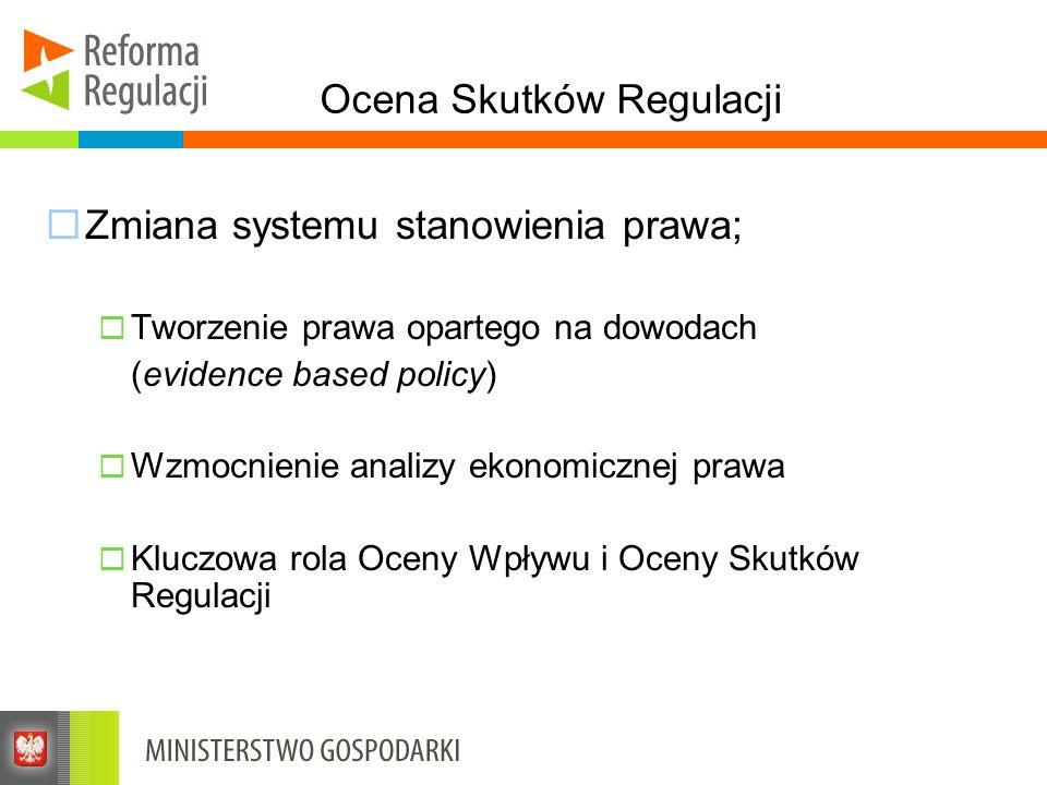 Ocena Skutków Regulacji Zmiana systemu stanowienia prawa; Tworzenie prawa opartego na dowodach (evidence based policy) Wzmocnienie analizy ekonomiczne