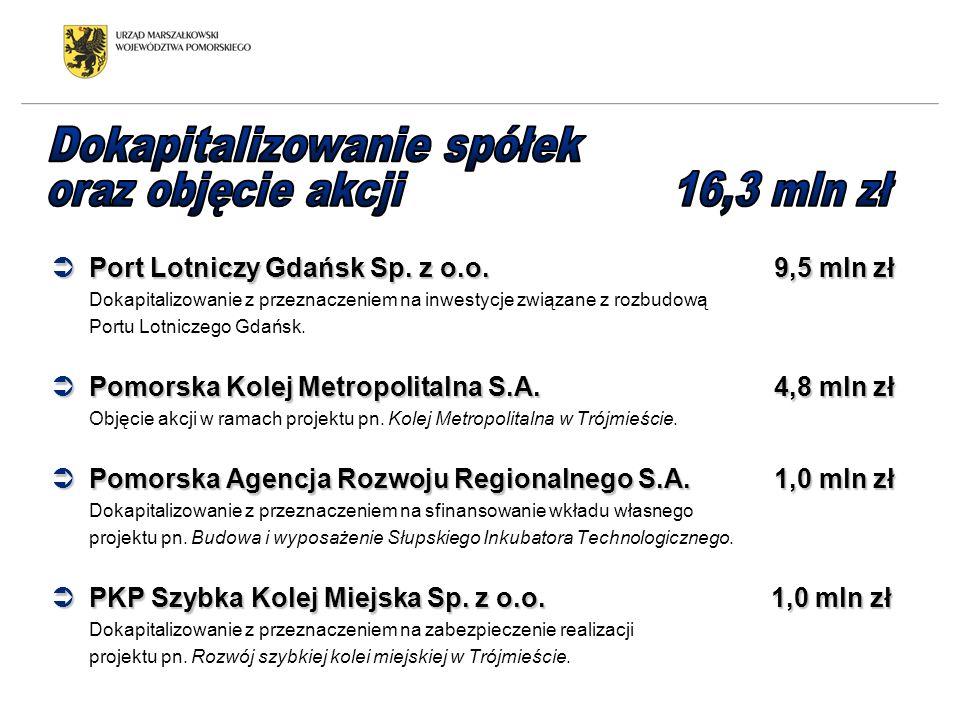 Port Lotniczy Gdańsk Sp. z o.o. 9,5 mln zł Port Lotniczy Gdańsk Sp. z o.o. 9,5 mln zł Dokapitalizowanie z przeznaczeniem na inwestycje związane z rozb