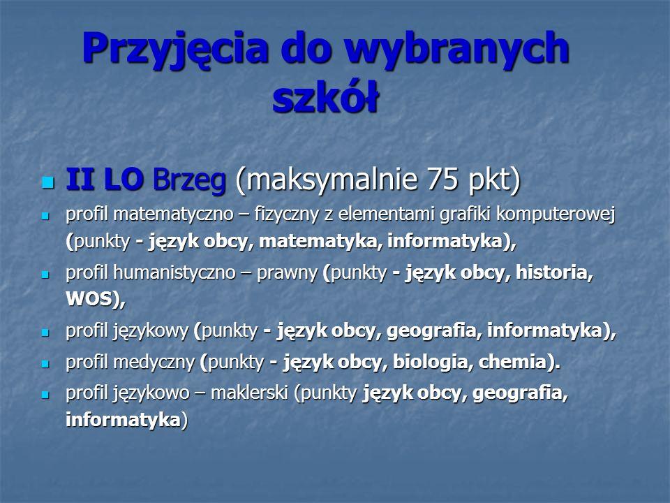 Przyjęcia do wybranych szkół II LO Brzeg (maksymalnie 75 pkt) II LO Brzeg (maksymalnie 75 pkt) profil matematyczno – fizyczny z elementami grafiki kom