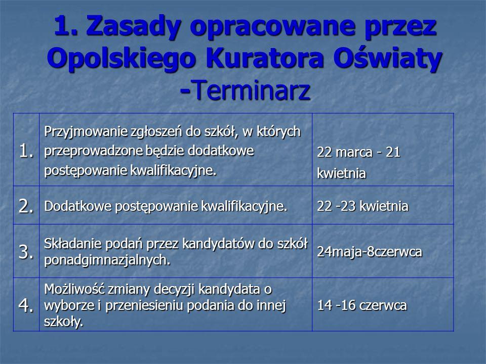 1. Zasady opracowane przez Opolskiego Kuratora Oświaty -Terminarz 1. Przyjmowanie zgłoszeń do szkół, w których przeprowadzone będzie dodatkowe postępo