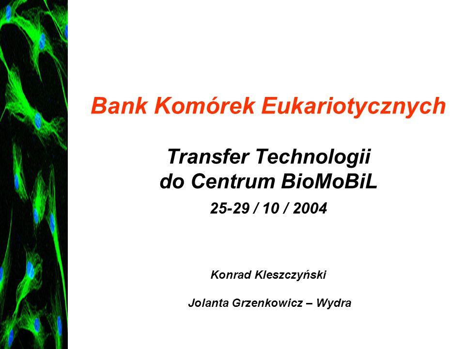 Bank Komórek Eukariotycznych Transfer Technologii do Centrum BioMoBiL 25-29 / 10 / 2004 Konrad Kleszczyński Jolanta Grzenkowicz – Wydra
