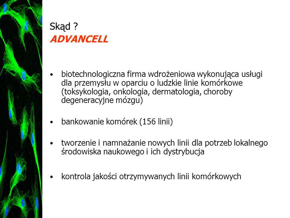 Skąd ? ADVANCELL biotechnologiczna firma wdrożeniowa wykonująca usługi dla przemysłu w oparciu o ludzkie linie komórkowe (toksykologia, onkologia, der