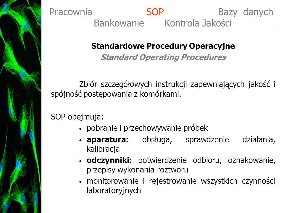 Pracownia SOP Bazy danych Bankowanie Kontrola Jakości Standardowe Procedury Operacyjne Standard Operating Procedures Zbiór szczegółowych instrukcji za