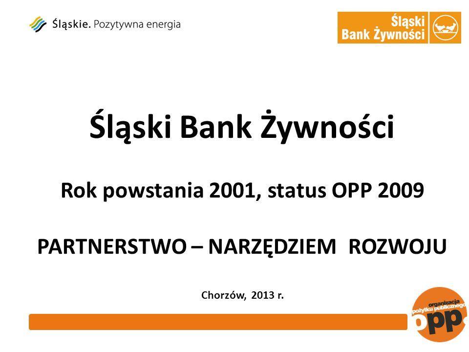 Śląski Bank Żywności Rok powstania 2001, status OPP 2009 PARTNERSTWO – NARZĘDZIEM ROZWOJU Chorzów, 2013 r.