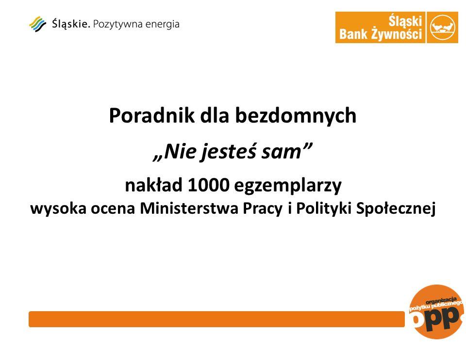 Poradnik dla bezdomnych Nie jesteś sam nakład 1000 egzemplarzy wysoka ocena Ministerstwa Pracy i Polityki Społecznej