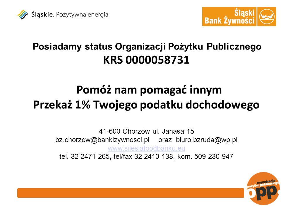 Posiadamy status Organizacji Pożytku Publicznego KRS 0000058731 Pomóż nam pomagać innym Przekaż 1% Twojego podatku dochodowego 41-600 Chorzów ul.
