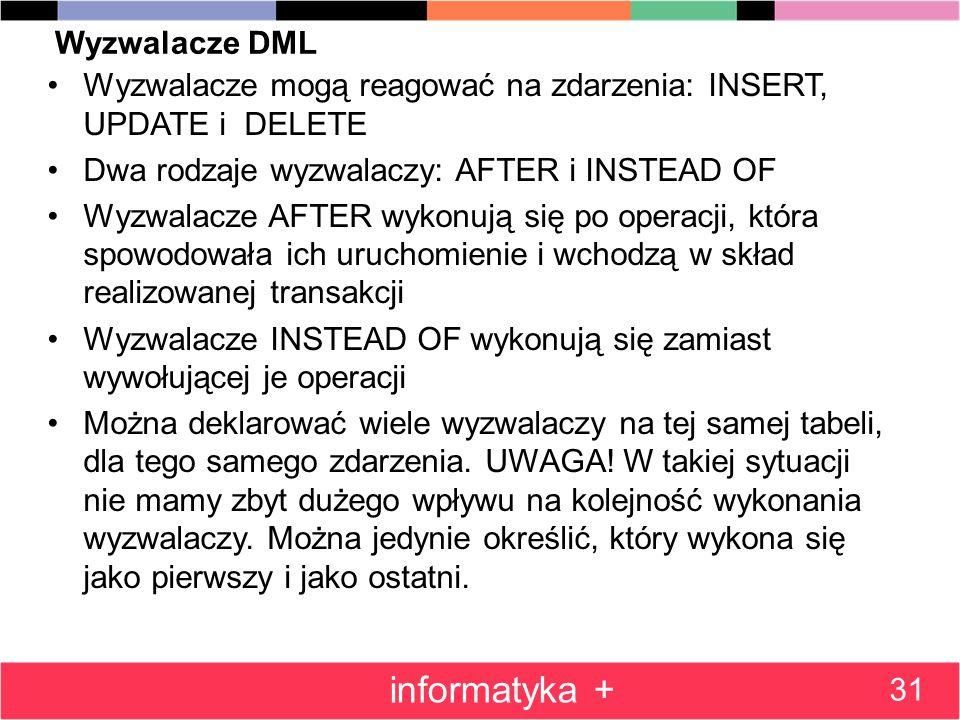 Wyzwalacze DML Wyzwalacze mogą reagować na zdarzenia: INSERT, UPDATE i DELETE Dwa rodzaje wyzwalaczy: AFTER i INSTEAD OF Wyzwalacze AFTER wykonują się