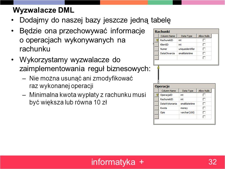 Wyzwalacze DML Dodajmy do naszej bazy jeszcze jedną tabelę Będzie ona przechowywać informacje o operacjach wykonywanych na rachunku Wykorzystamy wyzwa