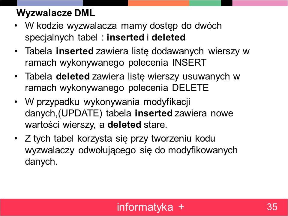 Wyzwalacze DML W kodzie wyzwalacza mamy dostęp do dwóch specjalnych tabel : inserted i deleted Tabela inserted zawiera listę dodawanych wierszy w rama