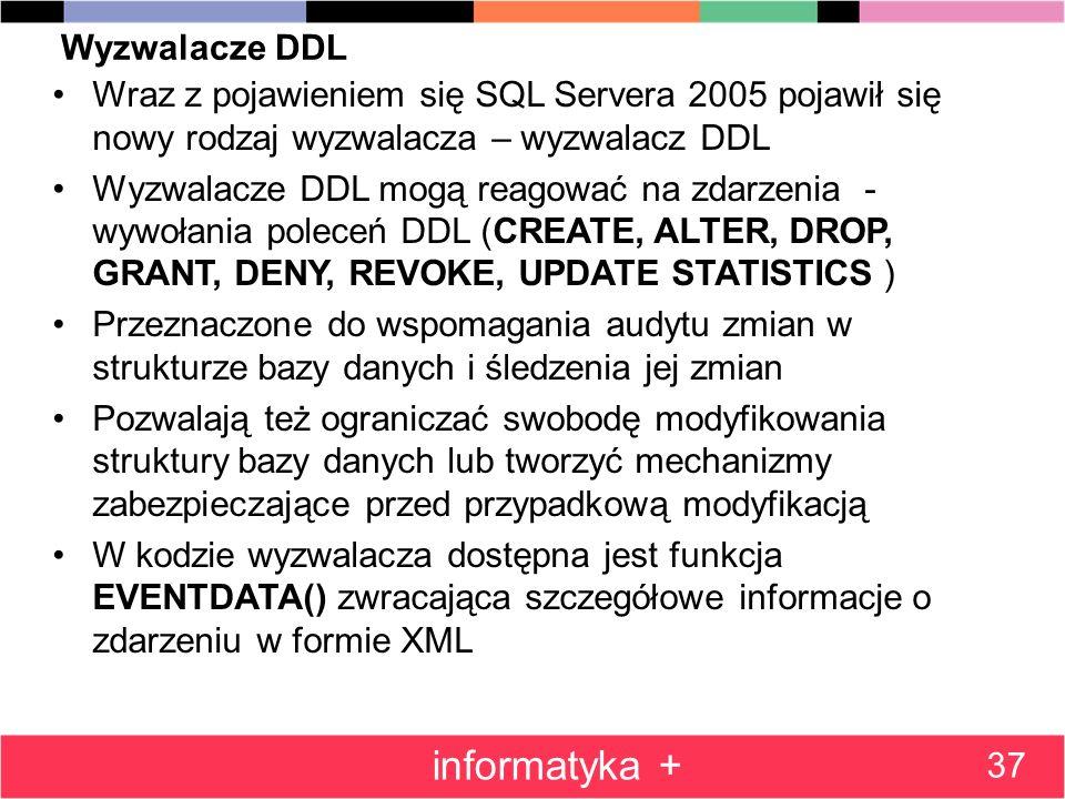 Wyzwalacze DDL Wraz z pojawieniem się SQL Servera 2005 pojawił się nowy rodzaj wyzwalacza – wyzwalacz DDL Wyzwalacze DDL mogą reagować na zdarzenia -