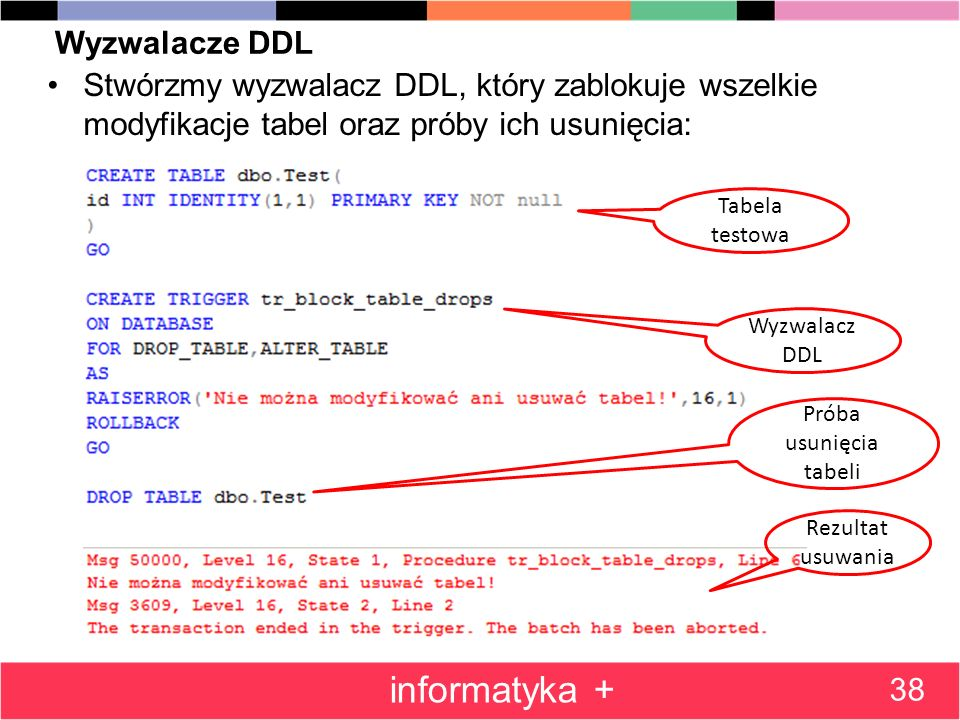 Wyzwalacze DDL Stwórzmy wyzwalacz DDL, który zablokuje wszelkie modyfikacje tabel oraz próby ich usunięcia: 38 informatyka + Tabela testowa Wyzwalacz