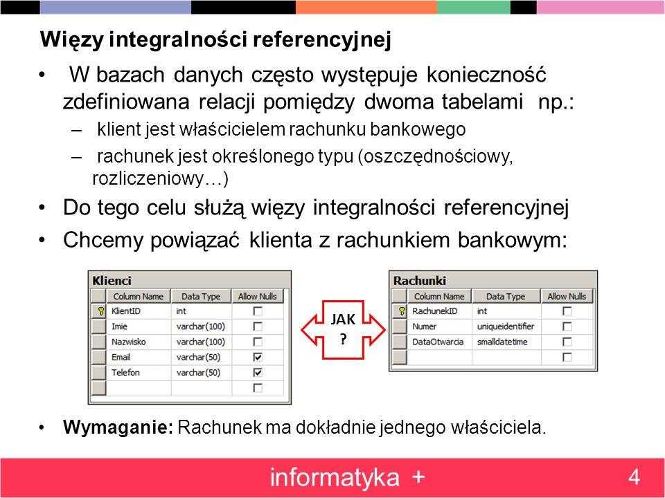 Więzy integralności referencyjnej W bazach danych często występuje konieczność zdefiniowana relacji pomiędzy dwoma tabelami np.: – klient jest właścic