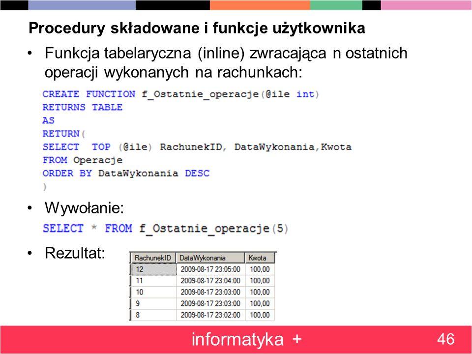 Procedury składowane i funkcje użytkownika Funkcja tabelaryczna (inline) zwracająca n ostatnich operacji wykonanych na rachunkach: Wywołanie: Rezultat