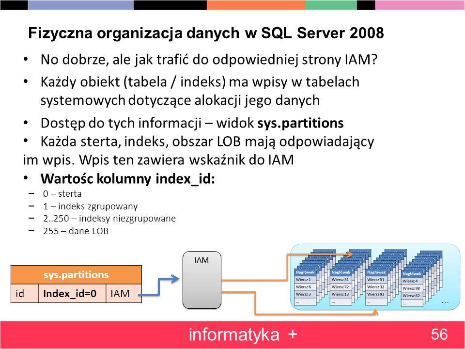 Fizyczna organizacja danych w SQL Server 2008 No dobrze, ale jak trafić do odpowiedniej strony IAM? Każdy obiekt (tabela / indeks) ma wpisy w tabelach