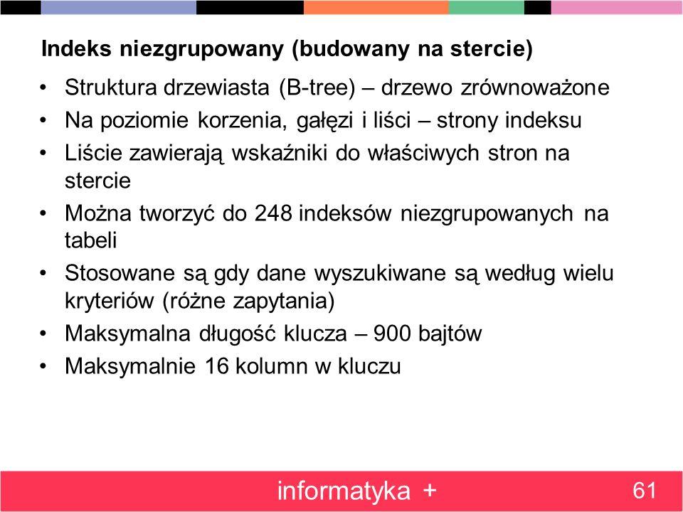 Indeks niezgrupowany (budowany na stercie) Struktura drzewiasta (B-tree) – drzewo zrównoważone Na poziomie korzenia, gałęzi i liści – strony indeksu L