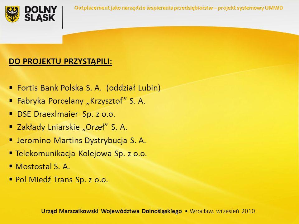 DO PROJEKTU PRZYSTĄPILI: Fortis Bank Polska S. A. (oddział Lubin) Fabryka Porcelany Krzysztof S. A. DSE Draexlmaier Sp. z o.o. Zakłady Lniarskie Orzeł