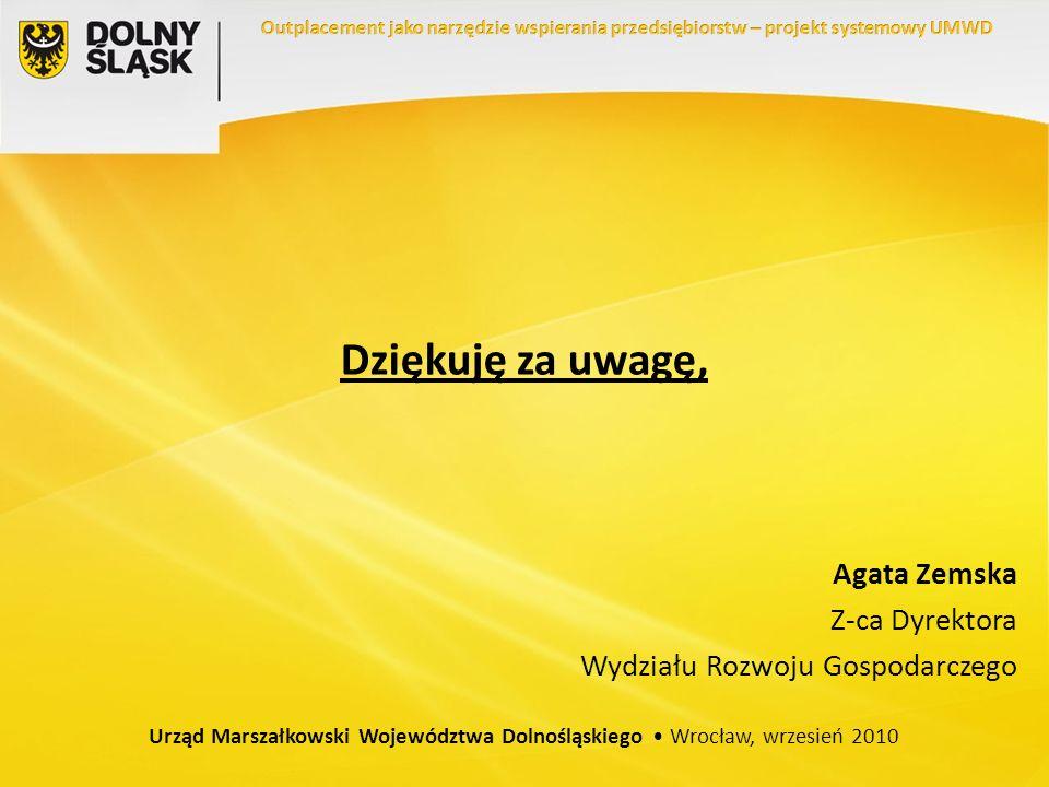 Dziękuję za uwagę, Agata Zemska Z-ca Dyrektora Wydziału Rozwoju Gospodarczego Urząd Marszałkowski Województwa Dolnośląskiego Wrocław, wrzesień 2010