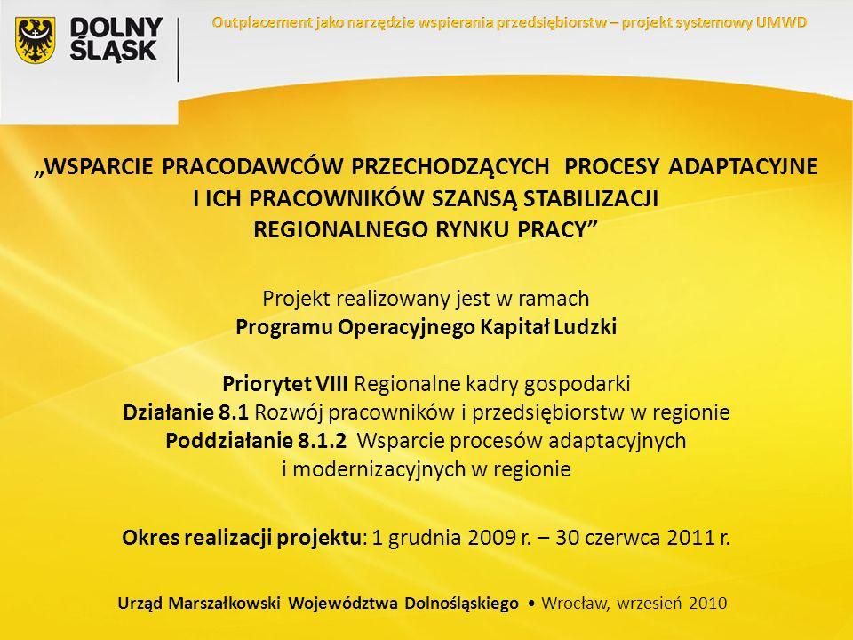 WSPARCIE PRACODAWCÓW PRZECHODZĄCYCH PROCESY ADAPTACYJNE I ICH PRACOWNIKÓW SZANSĄ STABILIZACJI REGIONALNEGO RYNKU PRACY Projekt realizowany jest w ramach Programu Operacyjnego Kapitał Ludzki Priorytet VIII Regionalne kadry gospodarki Działanie 8.1 Rozwój pracowników i przedsiębiorstw w regionie Poddziałanie 8.1.2 Wsparcie procesów adaptacyjnych i modernizacyjnych w regionie Okres realizacji projektu: 1 grudnia 2009 r.