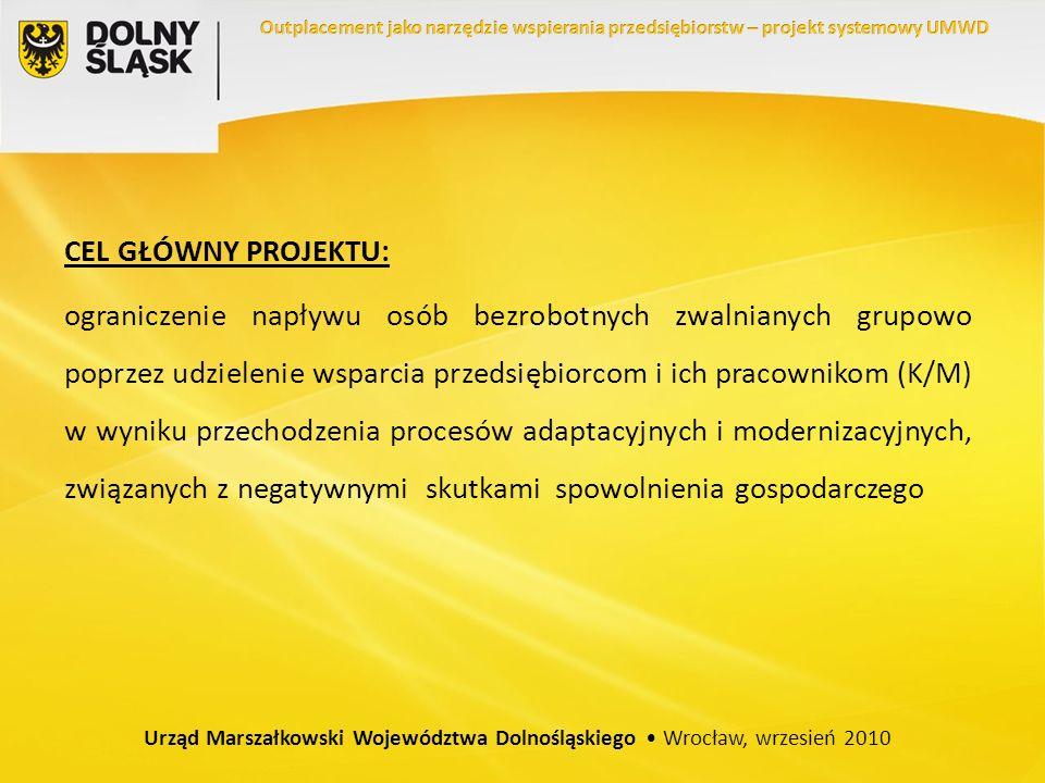 CEL GŁÓWNY PROJEKTU: ograniczenie napływu osób bezrobotnych zwalnianych grupowo poprzez udzielenie wsparcia przedsiębiorcom i ich pracownikom (K/M) w wyniku przechodzenia procesów adaptacyjnych i modernizacyjnych, związanych z negatywnymi skutkami spowolnienia gospodarczego Urząd Marszałkowski Województwa Dolnośląskiego Wrocław, wrzesień 2010