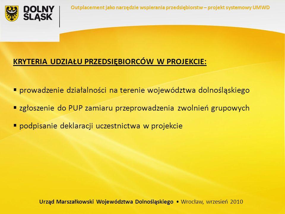 KRYTERIA UDZIAŁU PRZEDSIĘBIORCÓW W PROJEKCIE: prowadzenie działalności na terenie województwa dolnośląskiego zgłoszenie do PUP zamiaru przeprowadzenia zwolnień grupowych podpisanie deklaracji uczestnictwa w projekcie Urząd Marszałkowski Województwa Dolnośląskiego Wrocław, wrzesień 2010