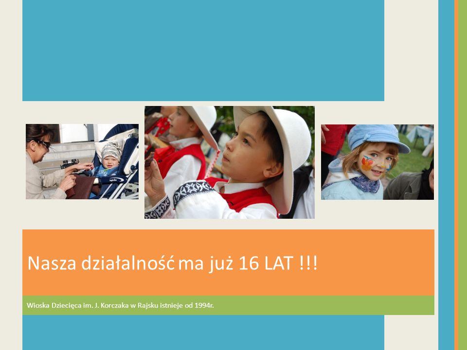 Wioska Dziecięca im. J. Korczaka w Rajsku istnieje od 1994r. Nasza działalność ma już 16 LAT !!!