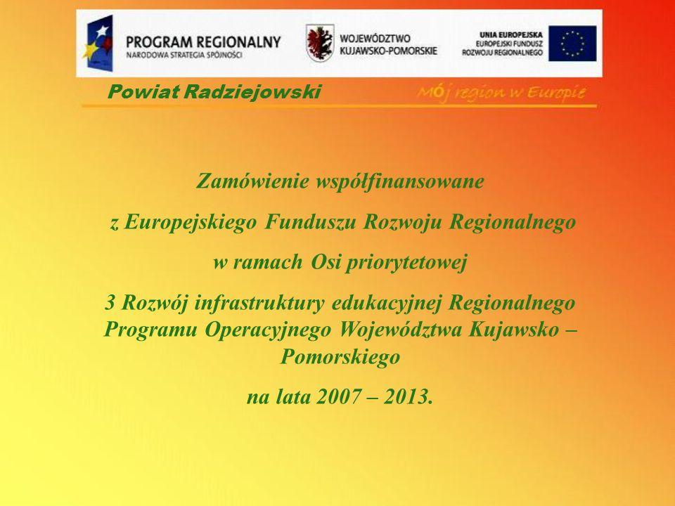 Zamówienie współfinansowane z Europejskiego Funduszu Rozwoju Regionalnego w ramach Osi priorytetowej 3 Rozwój infrastruktury edukacyjnej Regionalnego