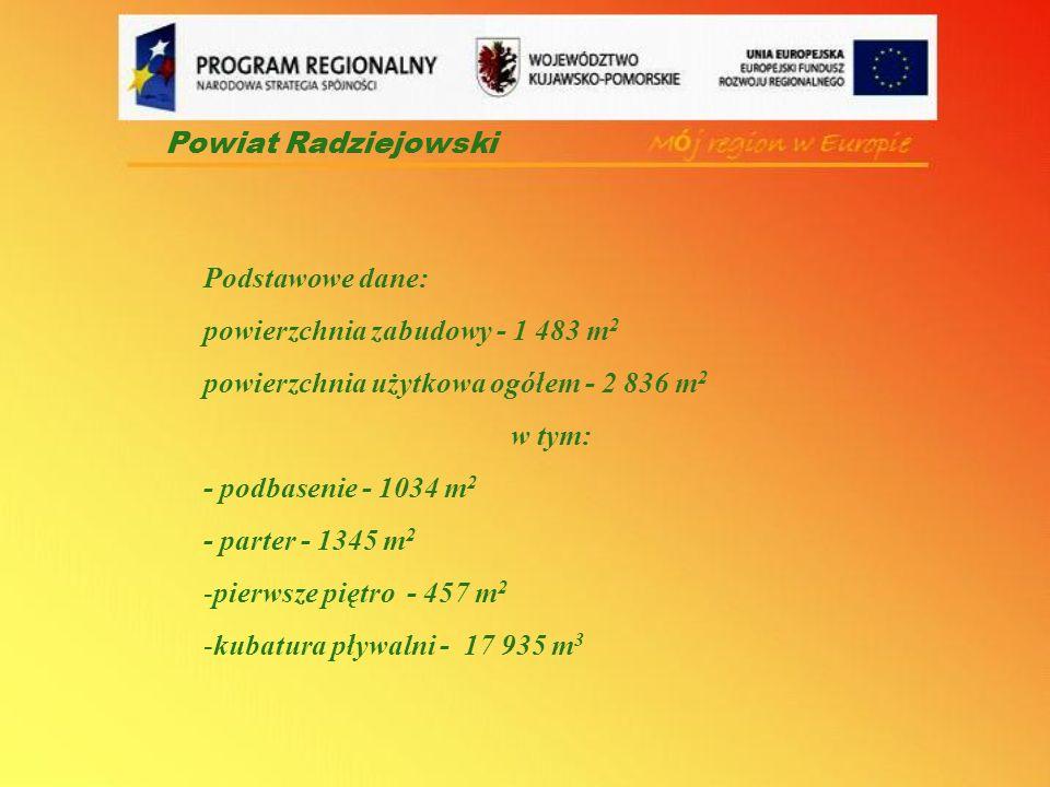 Podstawowe dane: powierzchnia zabudowy - 1 483 m 2 powierzchnia użytkowa ogółem - 2 836 m 2 w tym: - podbasenie - 1034 m 2 - parter - 1345 m 2 -pierws