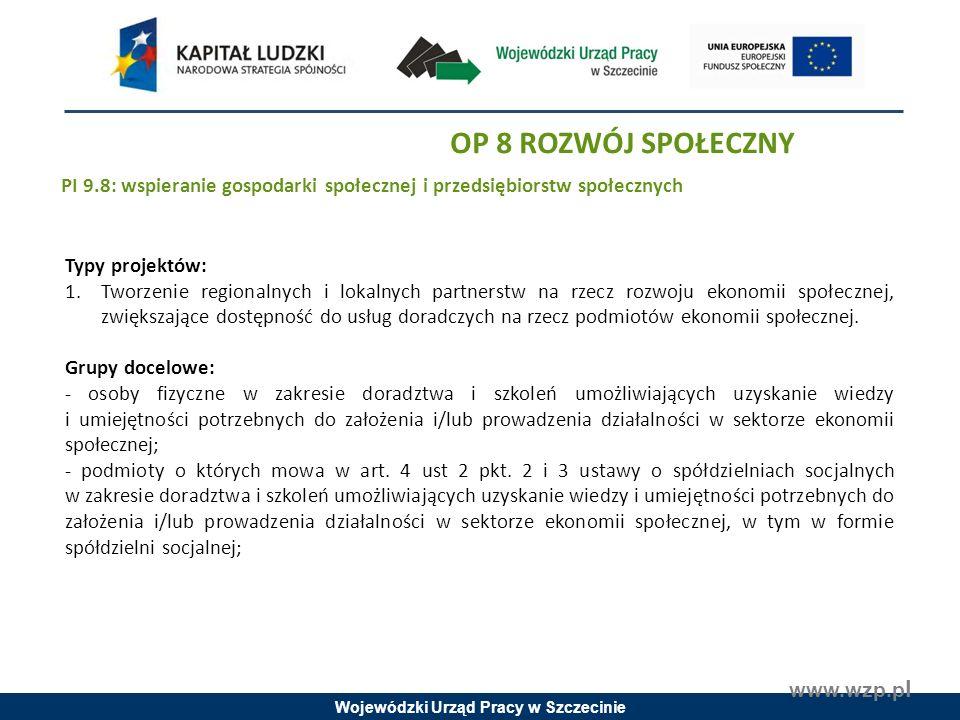 Wojewódzki Urząd Pracy w Szczecinie www.wzp.p l Typy projektów: 1.Tworzenie regionalnych i lokalnych partnerstw na rzecz rozwoju ekonomii społecznej, zwiększające dostępność do usług doradczych na rzecz podmiotów ekonomii społecznej.