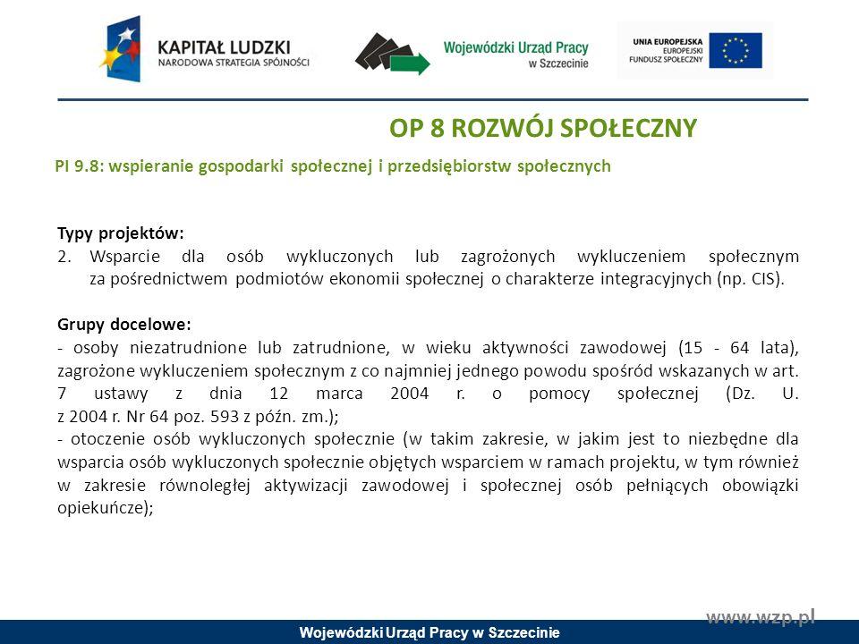 Wojewódzki Urząd Pracy w Szczecinie www.wzp.p l Typy projektów: 2.Wsparcie dla osób wykluczonych lub zagrożonych wykluczeniem społecznym za pośrednictwem podmiotów ekonomii społecznej o charakterze integracyjnych (np.